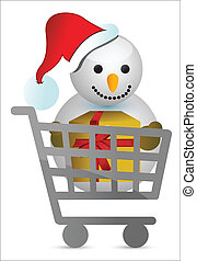shopping cart with snowman illustration design