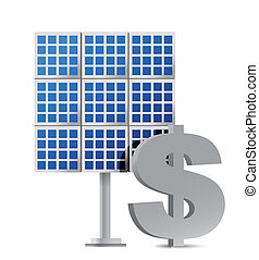 solar panel and dollar sign illustration design over white