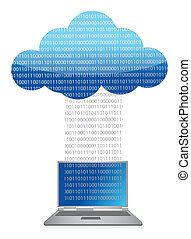 laptop cloud computing binary transfer illustration design