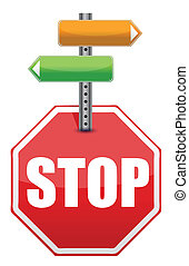 stop sign with color arrows