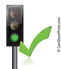traffic light and checkmark illustration design over white