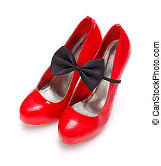 Red woman shoes with bow tie - Red woman shoes with black...