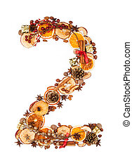 Christmas letter - Number made of Christmas spices, dry...