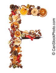 Christmas letter - Letter made of Christmas spices, dry...