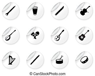 Stickers with musical instrument icons