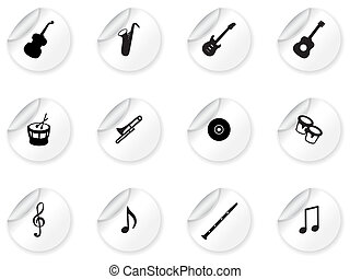 Stickers with musical icons