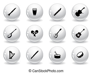 Web buttons, musical instrument icons
