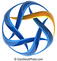 Swirl 3d lines icon such - Abstract icon of blue and yellow...