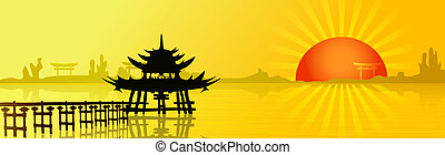 Sunset In Asia - Asian landscape with a big red sun