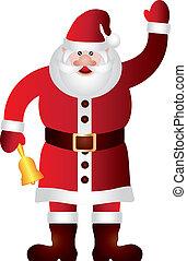 Santa Claus Waving and Ringing Bell Illustration