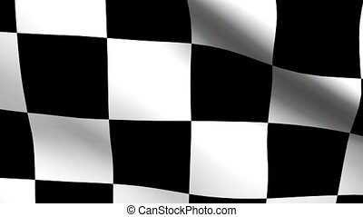 Checkered Flag Flowing - Loop features a flowing black and...