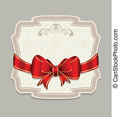 Vintage label with a red bow for design packing