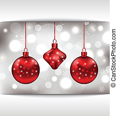 Holiday glowing card with Christmas balls