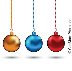 Christmas colorful balls isolated on white background -...