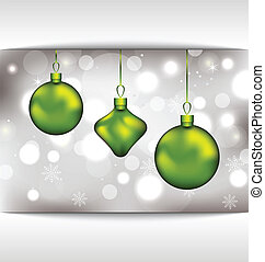 Holiday glowing invitation with Christmas balls