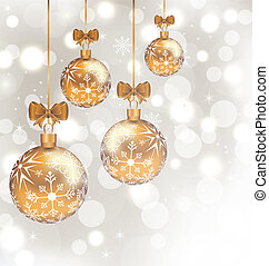 Glowing holiday background with set Christmas balls