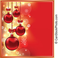 Holiday glowing background with Christmas balls
