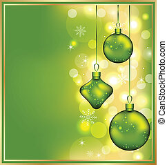 Holiday glowing invitation with Christmas balls -...