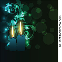 Greeting glowing card with candles for Diwali festival -...