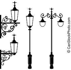 Set of vintage various streetlamp - Illustration set of...