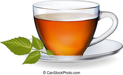 Cup of tea with leaves. Vector illustration.