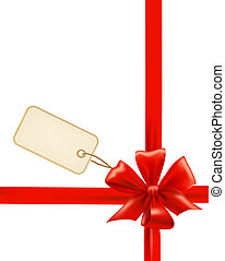 Red gift bow with ribbons and sale label. Vector.