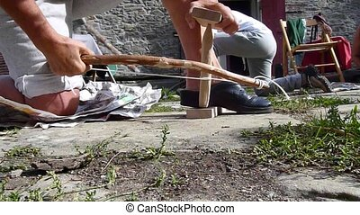 Fire by Friction Bow Drill - friction fire by rubbing sticks...