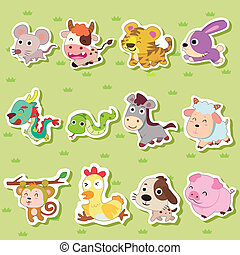 12 Chinese Zodiac animal stickers,cartoon vector...