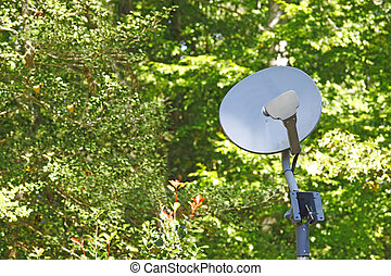 An old gray weathered oval satellite dish outside in the...