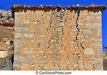 house with cracks in the facade
