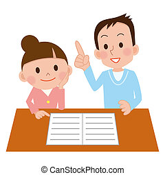 Happy young casual couple sitting at desk working together