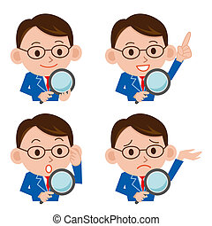 Magnifying glass and businessman