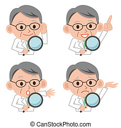 Magnifying glass and doctor - Illustration of a doctor using...