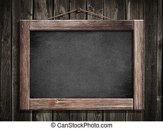 grunge, pequeno, quadro-negro, penduradas, madeira, parede,...