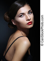 Portrait of Beautiful Woman With Red Lips - Close-up...