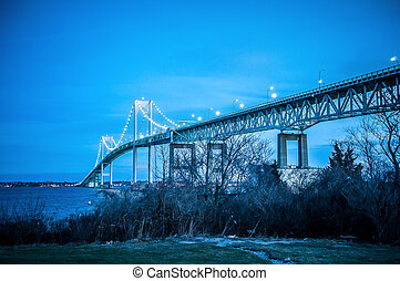 Night in Newport - Newport Bridge, is a suspension bridge...