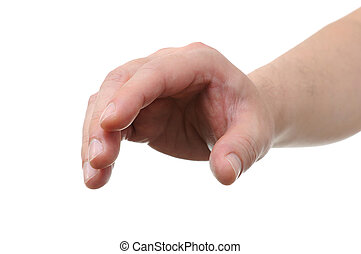 Hand gesture on white background