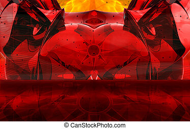 Red Devil - AbstractSurreal collage of 3D objects and...