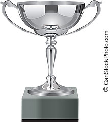 Trophy Cup Silver - Realistic illustration of gold trophy on...