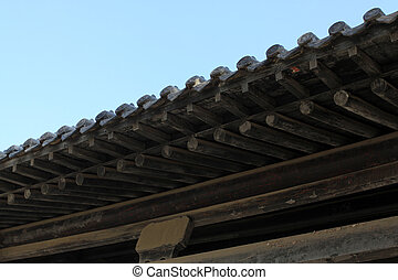 corner eaves of ancient buildings, close up of pictures,...