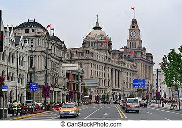 Shanghai Waitan - Old buildings and street view in Waitan of...