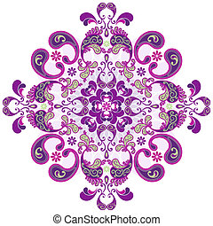 Floral vintage round frame - Round floral frame with vintage...