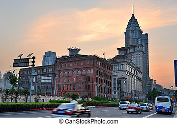 Shanghai Waitan district with historic buildings and street