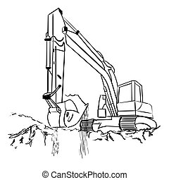 Earth mover - Heavy earth mover isolated on white. Vector...