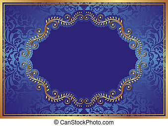 blue background with oval floral border