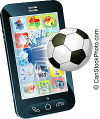 Soccer ball flying out of cell phone - Illustration of an...