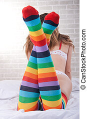 girl with stockings, bright rainbow