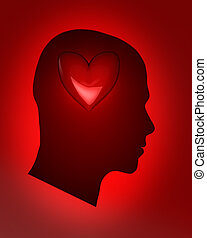 Human life - Male head with red heart ? human life concept
