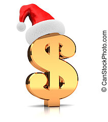 Sign of dollar with hat santa claus