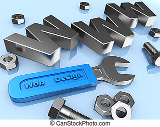 Web design: wrench, www, metallic screws and bolts